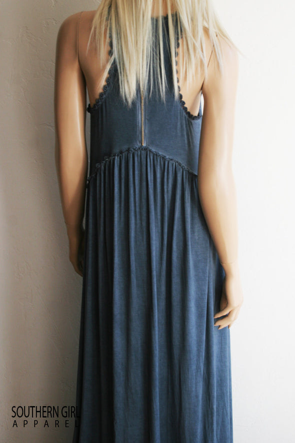 Women's Blue Babydoll Sleeveless Maxi Dress Dresses - SouthernGirlApparel.com