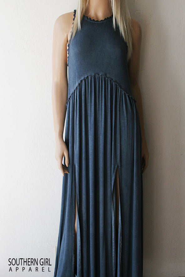 Blue Babydoll Sleeveless Maxi Dress - Southern Girl Apparel® - SouthernGirlApparel.com