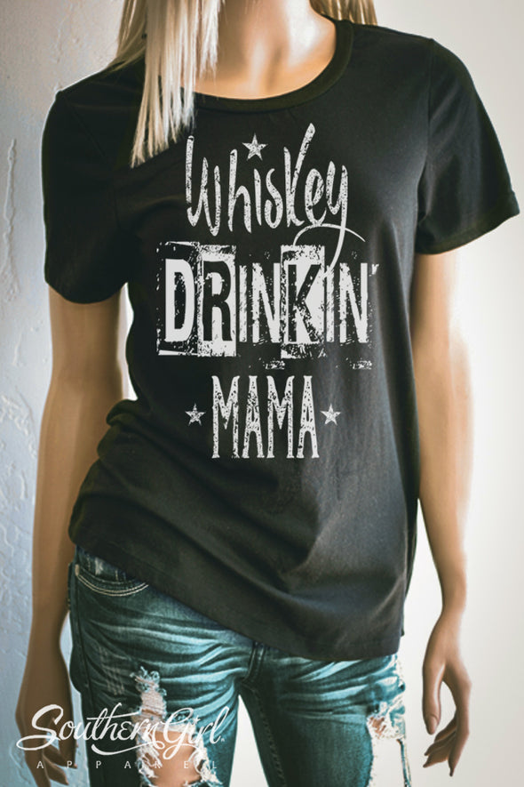 Whiskey Drinkin' Mama T-Shirt. Available in black or white or grey - Southern Girl Apparel® - southerngirlapparel.com