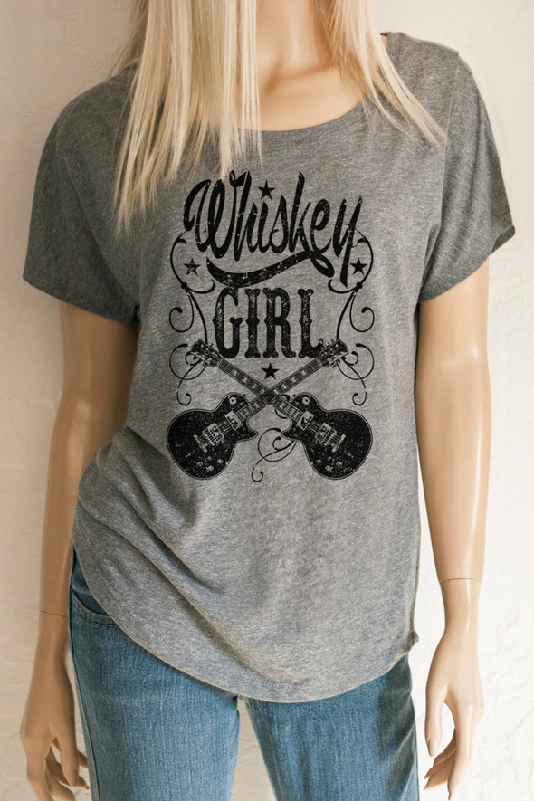 Whiskey Girl Scoop Neck Dolman Sleeve Tri-blend Tee T-Shirts - SouthernGirlApparel.com