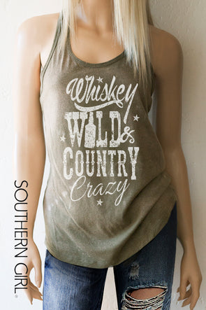 Whiskey Wild & Country Crazy Acid Washed Military Green toned Racerback Tank Top - Southern Girl