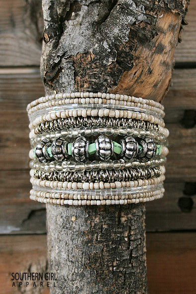 Beige and Silver Metal Wide Multi-layered beaded wire flex cuff bracelet-Enjoy free shipping-SouthernGirlApparel