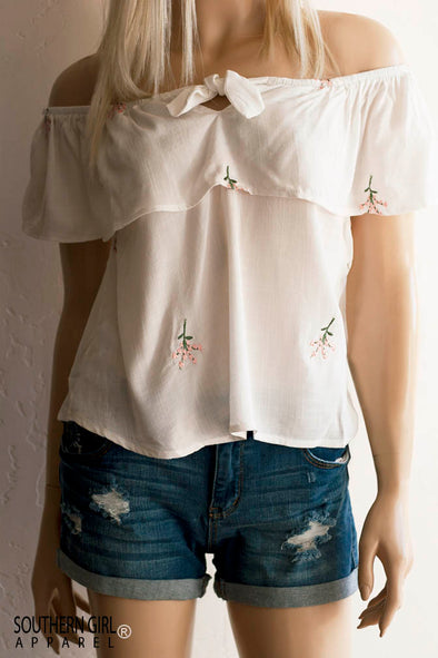 Cream White Off Shoulder Embroidered Floral Top