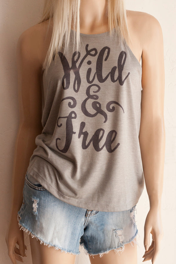 Wild & Free High Neck Spaghetti Strap Tank Top- Southern Girl Apparel® - southerngirlapparel.com