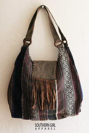 Woven Boho Hobo Fabric Bag with a Faux Leather Fringed flap - Southerngirlapparel.com
