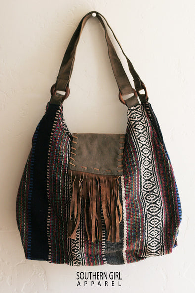 Woven Boho Hobo Fabric Bag with a Faux Leather Fringed flap - Southern Girl