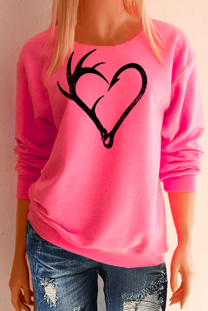 Antler Hook Heart Hot Pink Sweatshirt - Southern Girl Apparel® - southerngirlapparel.com