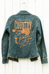 Country Crazy Denim Jacket with Brass Studs back - Southern Girl Apparel® - southerngirlapparel.com