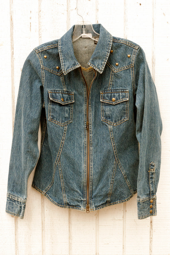 Country Crazy Denim Jacket with Brass Studs front - Southern Girl Apparel® - southerngirlapparel.com
