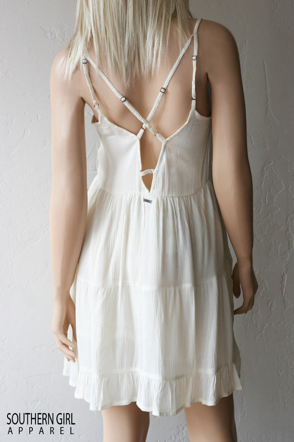Women's Cream Sundress, back baring with adjustable back straps - Southern Girl Apparel® - southerngirlapparel.com