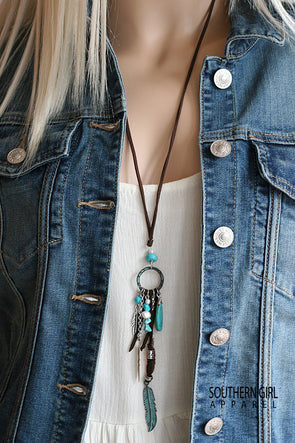 Turquoise Metal Patina Feather and Bead Cord Necklace - Southern Girl