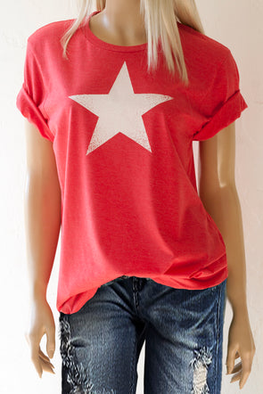 Heather Red Unisex Crew Neck Tee with White Star - Southern Girl Apparel® - southerngirlapparel.com