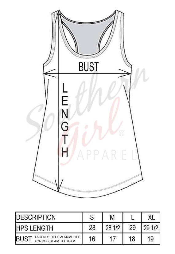 Racerback Tank Top sizing chart - Southern Girl Apparel® - southerngirlapparel.com