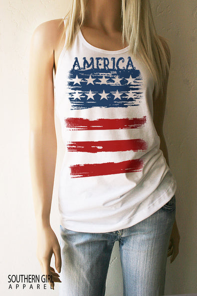 America Red White and Blue American Flag Racerback Tank Top  - SouthernGirlApparel.com
