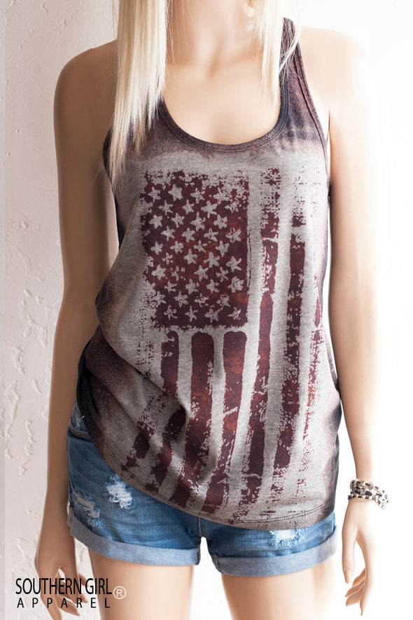 Acid Washed American Flag Brown and Black toned Racerback Tank Top