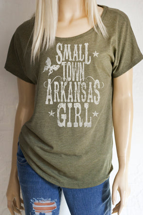 "Small Town ""Your State Here"" Girl Scoop Neck Dolman Sleeve Top - ALL 50 STATES AVAILABLE - Southern Girl"