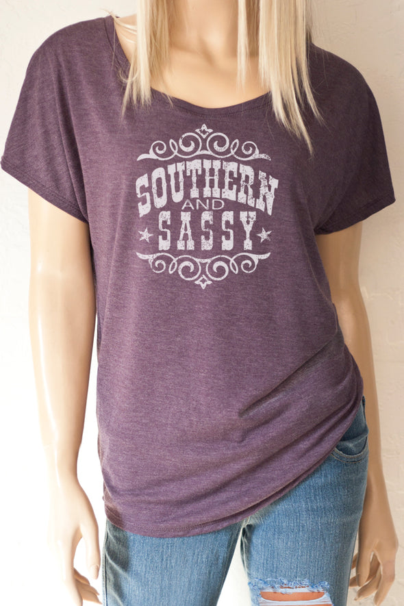 Southern and Sassy Heather purple Scoop Neck Dolman Sleeve Top-Southern Girl Apparel® - southerngirlapparel.com