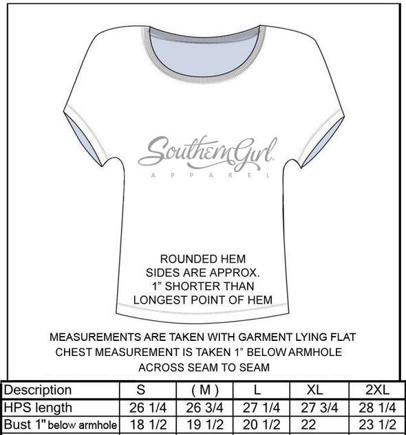 Free Spirit Don't Fence Me In Heather Grey Tri-blend Dolman Sleeve Top - Size Chart - Southern Girl Apparel® - southerngirlapparel.com
