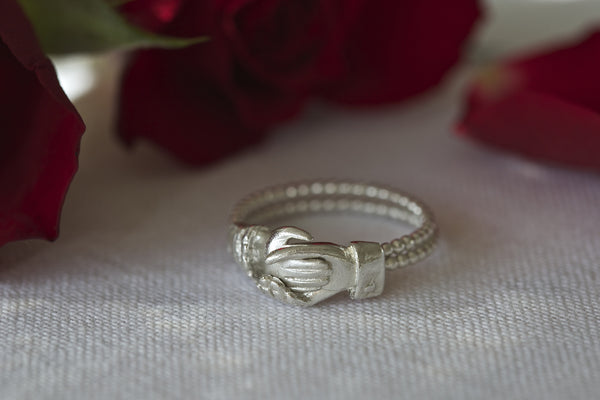 Silver 2-Part Clasped Hand Gimmel ring