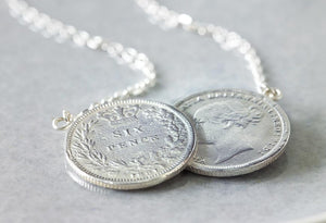 Victorian Double Sixpence Necklace