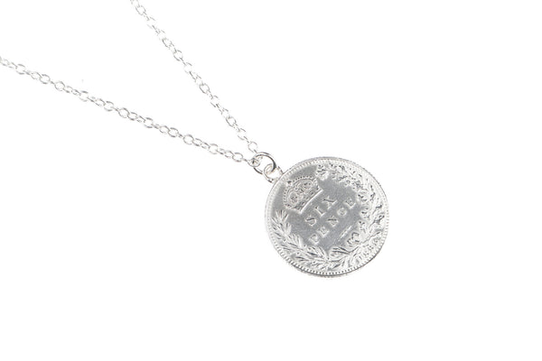 Victorian Single Sixpence Necklace