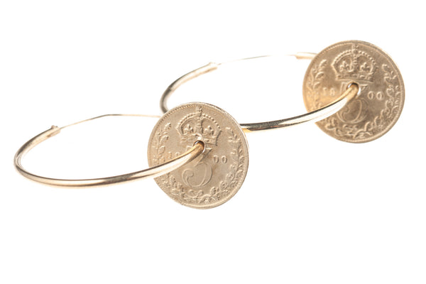 Victorian Threepence Hoop Earrings