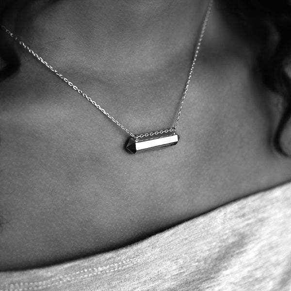 Hexagonal Silver Floating Bar Necklace