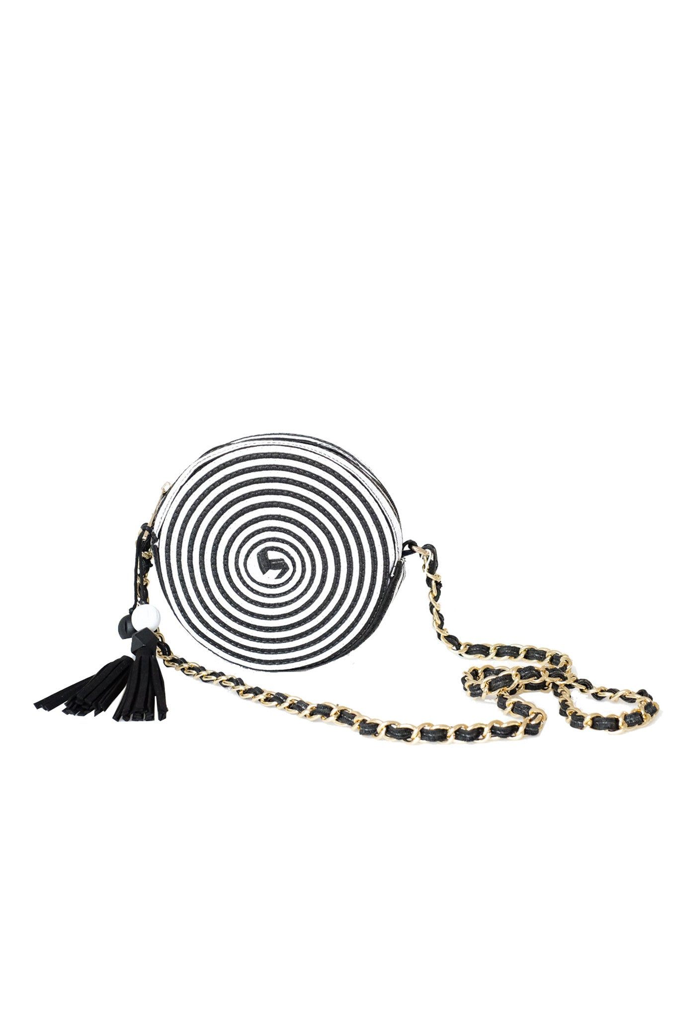 Black and White Stripped Cross-body Bag