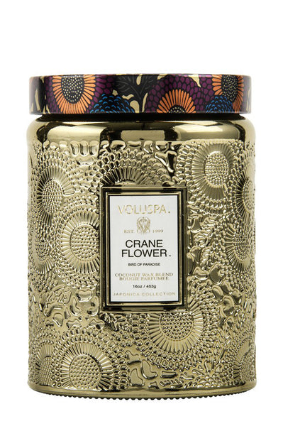 Crane Flower Large Embossed Jar Candle