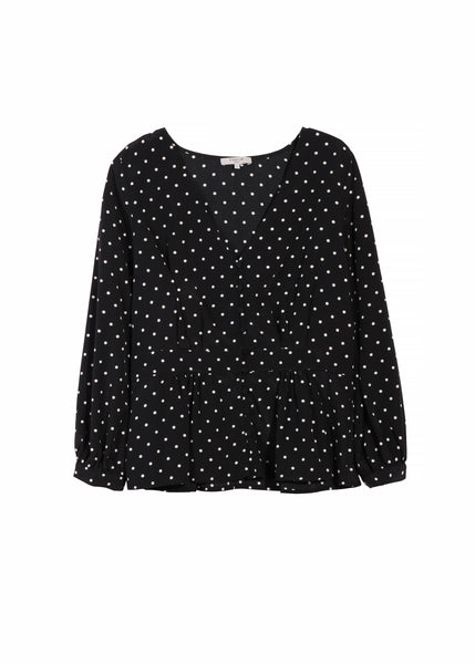 Frnch Button Up Peplum Top in Polka Dot