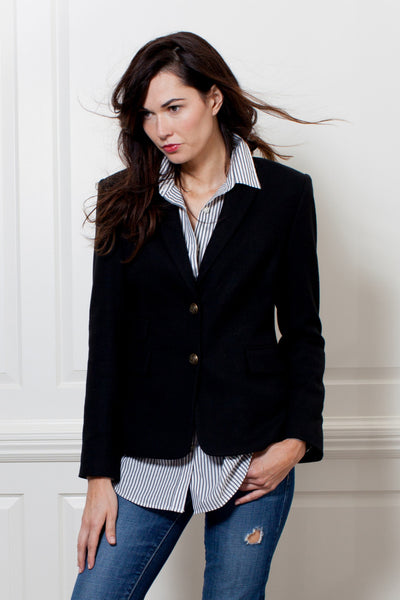 Two Penny Blue Hacking Jacket Blazer Baxter Black Wool Editorial