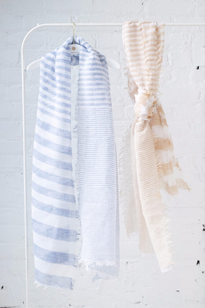 Graduated Stripe Scarf in Sand