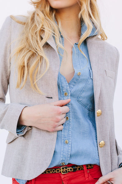 Two Penny Blue Flax Linen Blazer