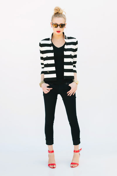 Two Penny Blue Sophie Black and White Striped Jacket