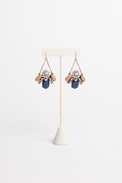 Statement Gem Earrings with Blush and Navy Accents