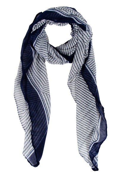 striped scarf in navy