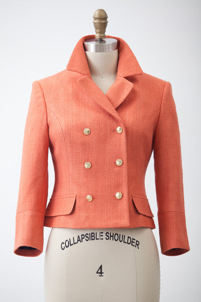 Two Penny Blue Jacket Blazer Audrey Coral Double Breasted Editorial
