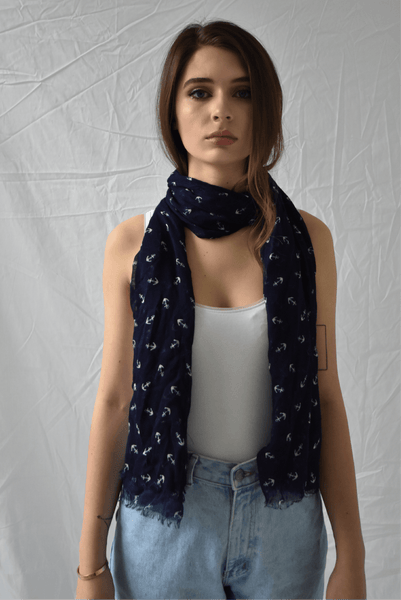 Anchors Away Scarf - Two Penny Blue