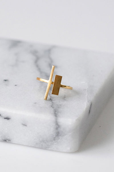 Asymmetrical Gold Bar Ring - Two Penny Blue