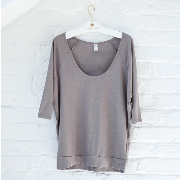 Boxy Raglan Tee in Nickel - Two Penny Blue