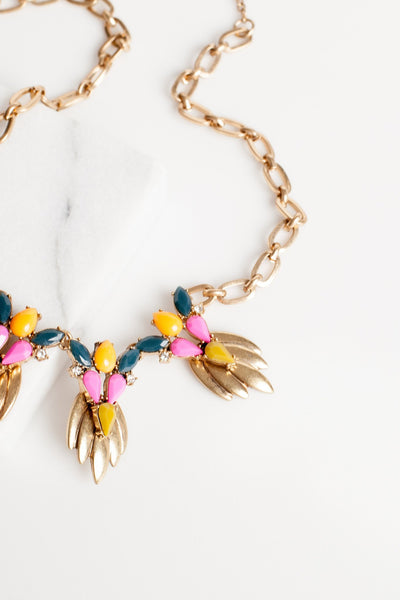Brass Necklace With Pink, Turquoise & Marigold - Two Penny Blue