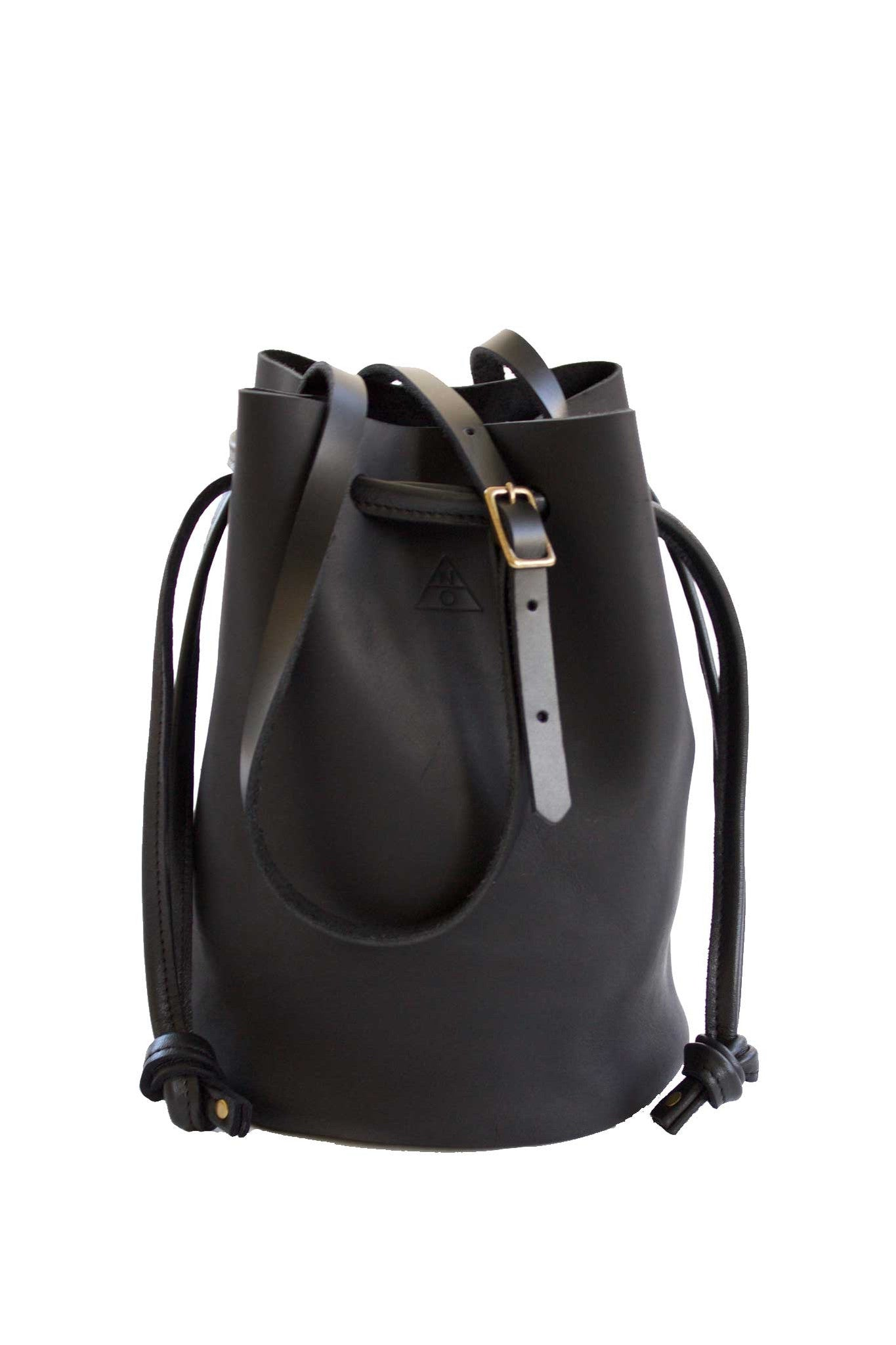 Ana Minimal Black Leather Drawstring Bucket Bag