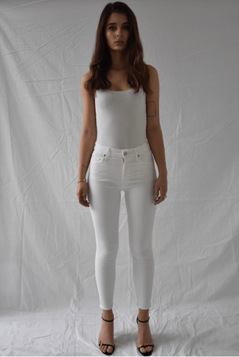 Citizens of Humanity Rocket High Rise Crop Skinny in White - Two Penny Blue