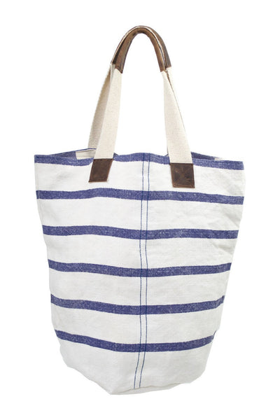 French Linen Blue Striped Bucket Tote - Two Penny Blue