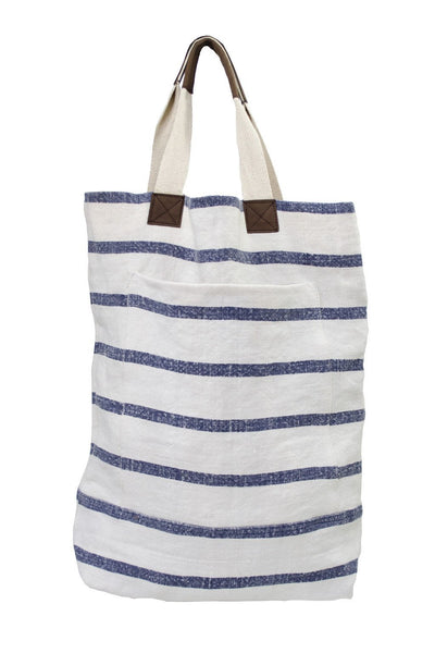 French Linen Striped Tote - Two Penny Blue