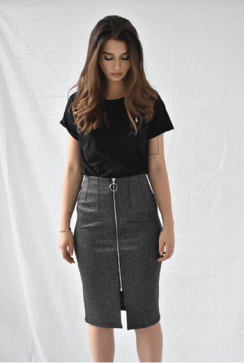 FRNCH Elvina Skirt Grey - Two Penny Blue