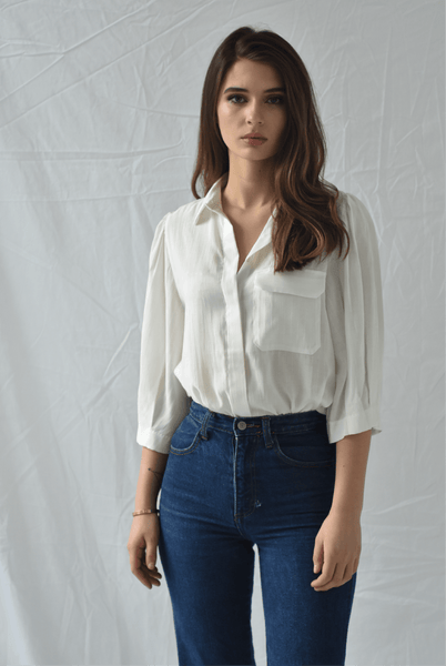 Frnch White Button Up Blouse - Two Penny Blue