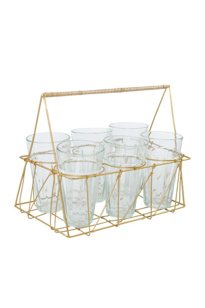 Gio Brass Wire & Rattan Caddy with Glasses - Two Penny Blue