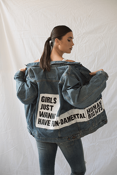 """Girls Just Wanna Have Fun-damental Rights"" Limited Edition Vintage Jacket - Two Penny Blue"