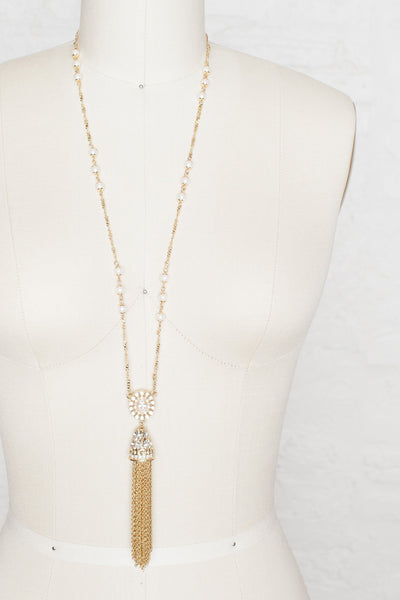 Gold Tassel Necklace - Two Penny Blue